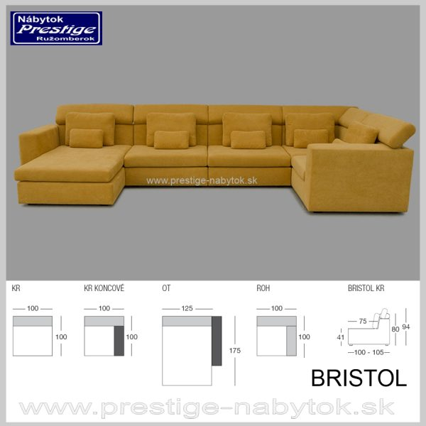 Bristol Sedacia súprava tvar U